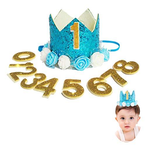 Princesa bebé Flor Corona,Corona para cumpleaños o Fiestas Sombrero de Corona Corona de cumpleaños para bebé Diadema cumpleaños Accesorios Bebé Princesa TiaraCon números reemplazables 0-8 (11 piezas)