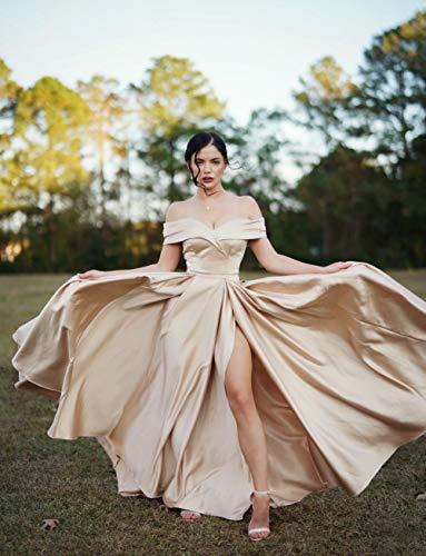 Homdor Split Off Shoulder Prom Evening Dress for Women A-Line Satin Formal Gown