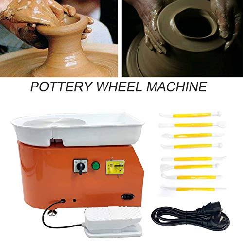 TABODD 350W Elektrische Töpferscheibe Keramikmaschine 25cm Keramik Radmaschine 220V Keramikrad-Maschine Keramikformmaschine Radmaschine DIY mit verstellbaren Füßen, Orange