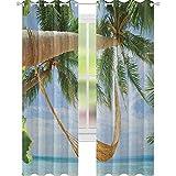 YUAZHOQI - Cortinas opacas para playa, diseño de hamaca con palmeras, color verde y azul