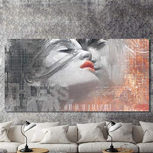 Leinwand Malerei Bilder Wandkunst Drucke Modular Poster 1 Panel Graffiti Abstrakter Liebhaber Kuss Wohnkultur Für Wohnzimmer Nr. 60x120cm kein Rahmen