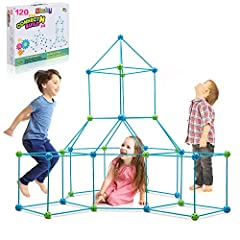 "★CONSTRUCTION FORT BUILDING KIT: Includes 75 Sticks (14.96"" long), 23 Blue Soild Balls and 22 Green Soild Balls (1.97"" diameter). Our120 PIECE magic making set allows you child to build forts of all shapes and sizes! (Blanket Not Included.) ★FLEXIBLE..."