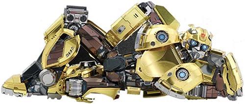 MQKZ Bumblebee Puzzle Fait Main 3D transformateurs en métal 6 modèle de Voiture de Jouet Authentique modèle Super Alliage Jaune + Outil A Taille Unique