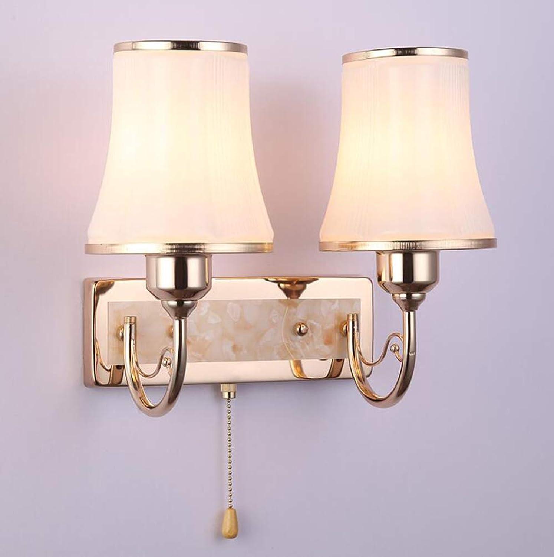 CFWLT Moderne minimalistische Doppelkopf Wandleuchte, Nachttischlampe Verchromung Prozess für Schlafzimmer Korridor Wand Dekoration Lampe 29cm  32cm