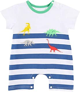 Fairy Baby Toddler Baby Boys Summer Shirt Romper Dinosaur Outfit Striped Cotton Pajamas