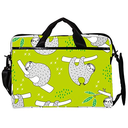 Unisex Computer Tablet Satchel Bag,Lightweight Laptop Bag,Canvas Travel Bag,13.4-14.5Inch with Buckles Cute Sloth