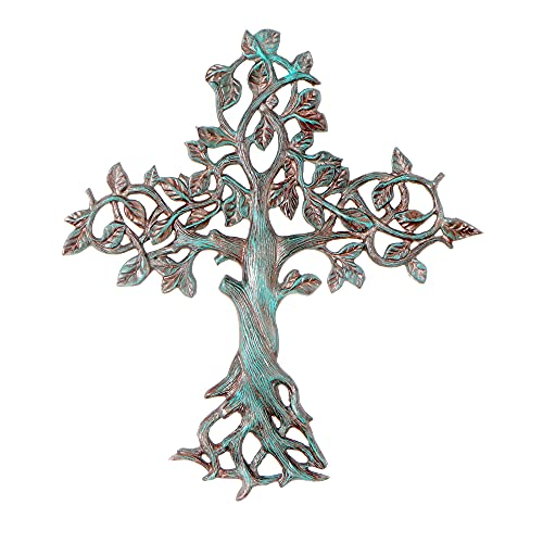 Decorative Tree of Life Metal Wall Cross Spiritual Decorations For Home - Religious Hanging Cross Wall Decor, Best For Home And As A Gift - Handmade Patina Finish Wall Art, 14.25' x 16' by ABY DECOR