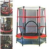 Cama elástica infantil con red de protección, carga de 50 kg, para interior y exterior