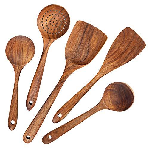 Baalaa Cucharas de madera, cucharas de madera para cocinar, 5 piezas reutilizables de madera utensilios de cocina Set herramientas para cocinar utensilios de cocina antiadherente