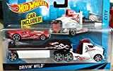hot wheels flatbed truck - Hot Wheels City Rig - Drivin' Wild Semi and Trailer with Nitro Coupe - White Truck, Red Car - 1:64 scale vehicle