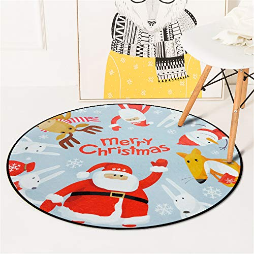 SONGHJ Polyester Teppich Weihnachten Neujahr Runde wasserabsorbierende Anti-Rutsch-Matte Weihnachten Home Decor Teppich