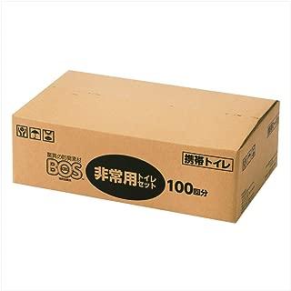驚異の防臭袋 BOS (ボス) 非常用 トイレ セット【凝固剤、汚物袋、BOSの3点セット ※防臭袋BOSのセットはこのシリーズだけ!】 (100回分)