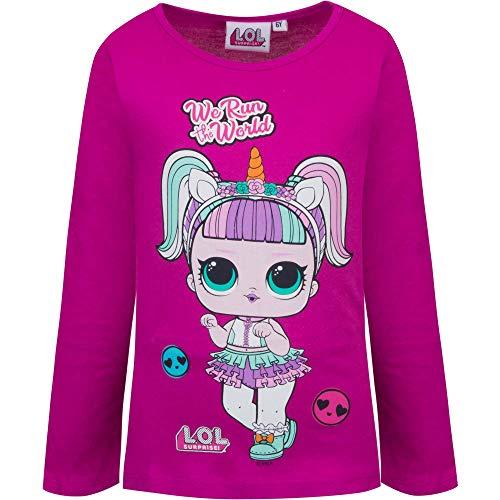 Characters Cartoons LOL Surprise - Maglietta T-Shirt Maglia a Maniche Lunghe - Cotone - Bambina [067 Viola - 3 Anni - 98 cm]