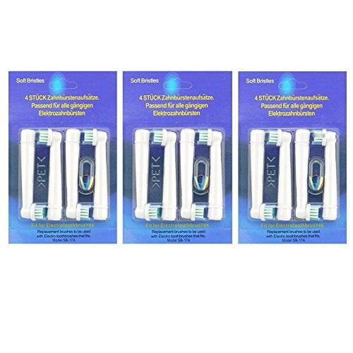 12 x kompatible Aufsteckbürsten Ersatzbürsten für Braun Oral B, EB17-4,Precision Clean, FlexiSoft, Flexi Soft (3 x 4PK)ERSATZ Zahnbürste ,(weiß Clean, Sensitive Clean, Oral-B Professional Care 5000, 6000, 7000, 8000, Oral -B Triumph Professional Care 9000 Serie, Oral-B Advanced Power 400, 900, Oral-B Dual Clean)