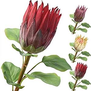 JUSTDOLIFE Artificial Flower Fake Protea Flower Pick Arrangement Vase Flower for Wedding