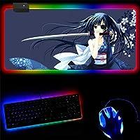 RGBマウスパッド サムライガールラージRGBマウスパッドロックエッジコンピューターキーボードデスクマットスピード天然ゴム滑り止め快適 30x90cm