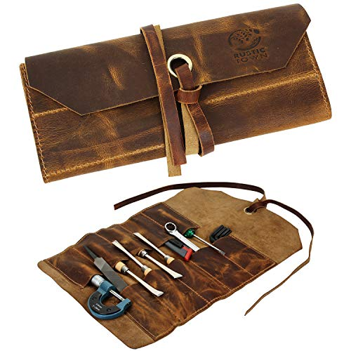 Leather Tool Roll Up Pouch - Leather Tool Wrench Roll / Chisel Bag by Rustic Town