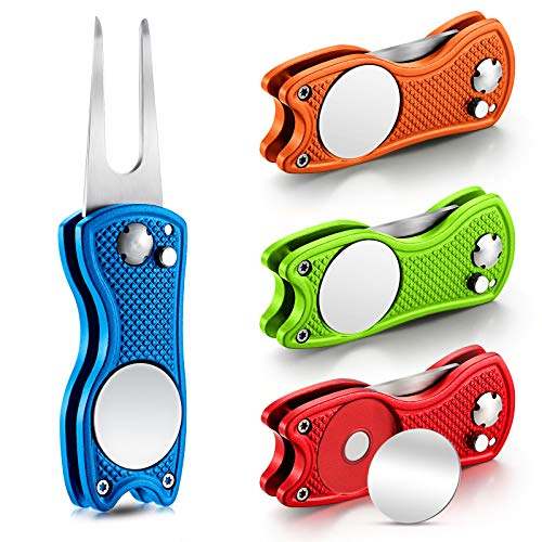 4 Pieces Golf Repair Tool Stainless Steel Foldable Golf Divot Tool Magnetic Golf Pop up Button Tool Golf Ball Marker (Red, Blue, Lime Green, Orange)
