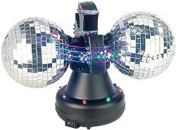 Lunartec Farbwechsel-Discokugel Double m. 32 LEDs, Motor