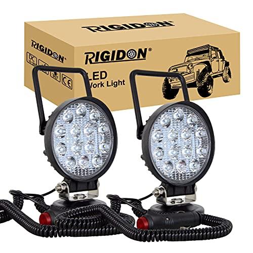 RIGIDON 2 Pcs Lámpara trabajo led portatil, 4 pulgadas 42W, Spot lámpara trabajo led para off road camión coche SUV 4x4 , Faro de trabajo led con imán 12v 24v Spotlights ,6000K