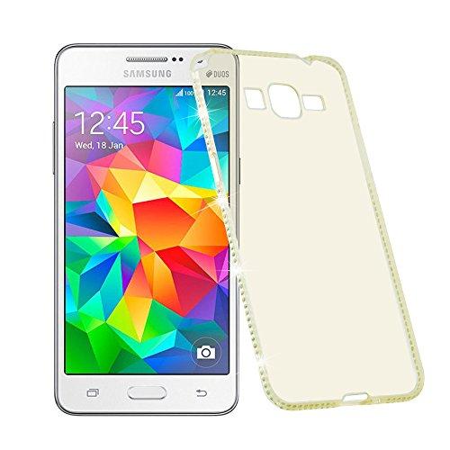 Preisvergleich Produktbild Cadorabo Hülle für Samsung Galaxy Grand Prime - Hülle in TRANSPARENT Gold Handyhülle aus TPU Silikon im Strass Design - Silikonhülle Schutzhülle Ultra Slim Soft Back Cover Case Bumper