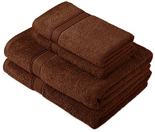 Pinzon by Amazon Handtuchset aus Baumwolle, Schokobraun, 2 Bade- und 2 Handtücher, 600g/m²