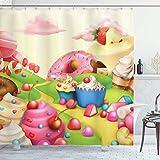 Moderner Duschvorhang, Yummy Donuts Sweet Land Cupcakes Eiscreme Baumwolle Candy Wolken Kinderzimmer-Design, Stoff Badezimmer-Dekor-Set mit Haken, 183 x 183 cm, mehrfarbig