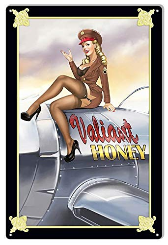 Toll2452 Señal metálica de aviación nostálgica Valiant Honey Pin Up Girl Aviation Nariz Art grande Metal Aviation Art Decor Sign