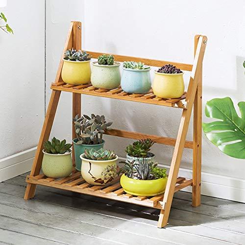 LLYU Jardin étagère support de fleurs bambou 2 couche échelle pliante bois balcon salon (Size : 50cm)