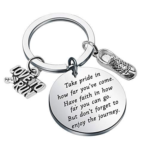 FUSTMW Runners Keychain Gift Marathon Runner Gift Marathon Keychain Track Gift Inspiration Gift for Runner Jewelry Running Gift (Silver)