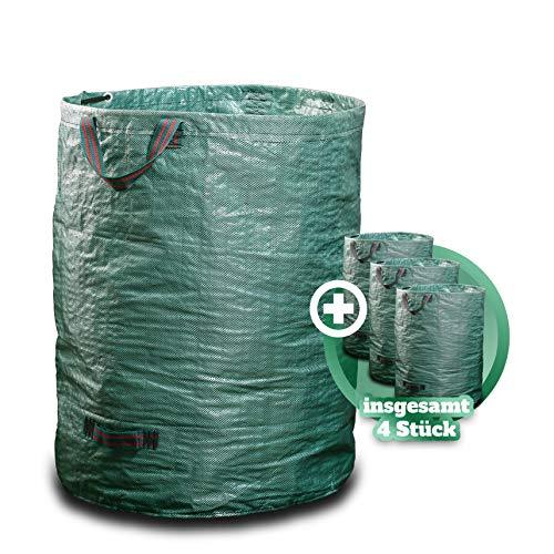 GARSA Gartenabfallsack 4 x 300 Liter - Premium Gartensack mit Verstärkten Griffen und Doppeltem Boden - Laubsack Selbstaufstellend und Faltbar