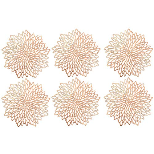 ikasus Tovagliette Rotonde Scavate, 6 Pezzi Tovagliette Tovagliette Sottopiatto Tappetini da Tavola Resistenti al Calore per cene, Matrimoni, anniversari, Feste Natalizie (Oro Rosa, 38 cm)