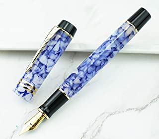 New Moonman M600S Acrylic Celluloid Fountain Pen Iridium Fine Nib Golden Trim Writing Gift Pen - Crystal Blue
