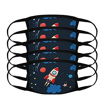 T-XYD Mas****Carilla de Uso Diario para niños 5 Piezas Lavable Transpirable Cohete del Universo de Dibujos Animados…