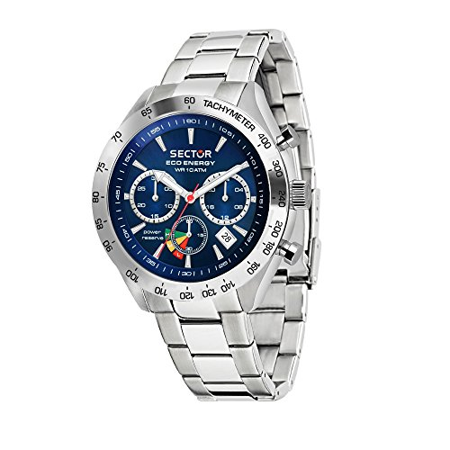 SECTOR NO LIMITS Herren Chronograph Solar Uhr mit Edelstahl Armband R3273613004