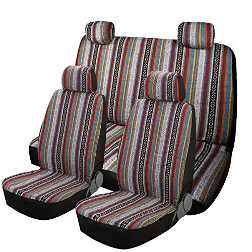 SHAKAR Universal Seat Covers for Car Seat- Delux Baja Blanket Auto Seat Covers Full Set(5 Seats)
