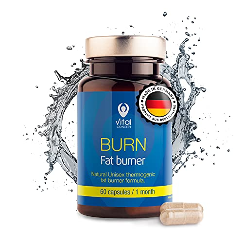 Vital Concept BURN - Sudoración efectiva y pérdida de peso mientras se practica deporte. Natural termogénico fórmula quemador de grasa + Guaraná. Suplemento Para Adelgazar. 60 cápsulas, 30 día