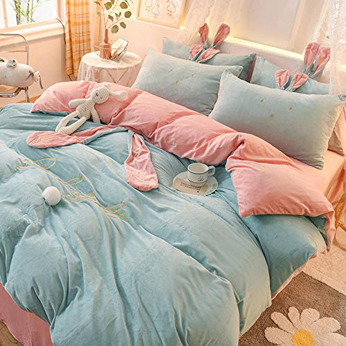 Shinon duvet cover sets,Winter double-sided fleece thickening and flannel single double bed single quilt cover pillowcase bed sheet-P_1.8m bed (4 pieces)