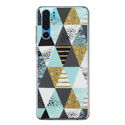 lllteri Funda Compatible con Huawei P30 Pro, Suave Silicona Flexible Carcasa para Huawei P30 Pro Transparente Protector Ultra Fina Case Geométrico de Mármol Rasguño Resistante Cover