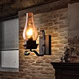 XinQing-Lámparas de Pared Lámpara de Pared de Cristal nórdico Retro rústico Dormitorio Aplique de Pared de la Pared Apliques de Pared industriales de la Vendimia