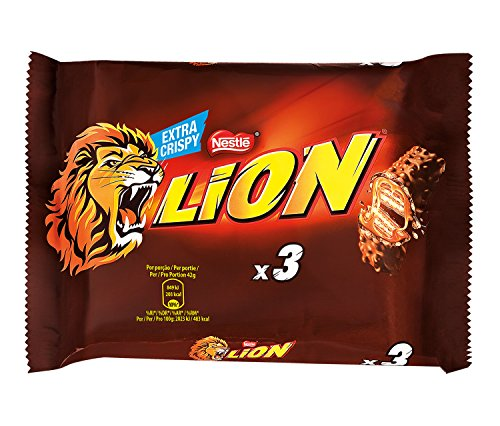Nestlé LION Trio Snack con Wafer Toffee e Cereali Ricoperti di Cioccolato al Latte, 2 Confezioni da 3 x 42 g