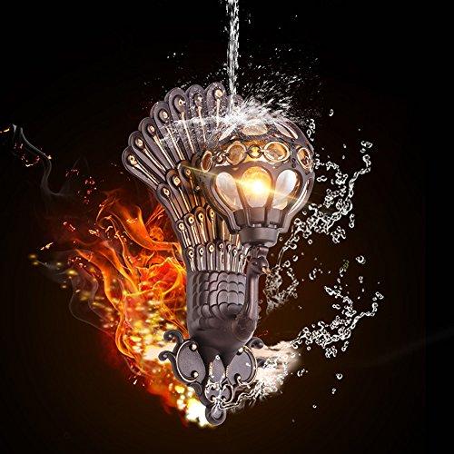 Vampsky 1-Light Creatividad Vintage Forma de pavo real Lámpara de pared externa Vidrio chino Aluminio Exterior Lámpara de pared impermeable Lámpara de jardín Hotel Villa Balcón E27 Decoración Villa Pa