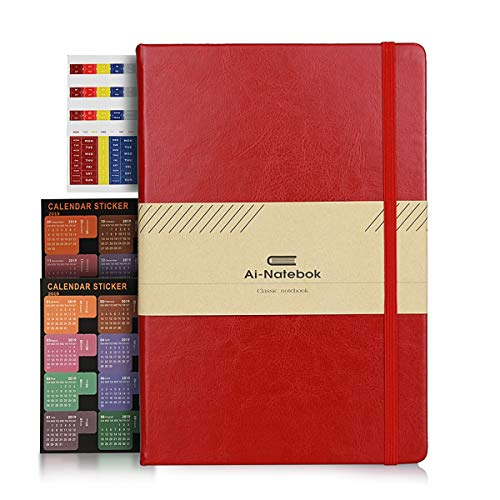 PU Leather Notebook for Students, Business, Travelers, 96 Sheets 120GSM Lined Paper with Inner Pocket & Bookmark, 5.75 by 8.5 Inches, Red