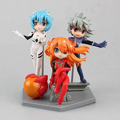 Cabilock Animeanime Statue Model Ayanami REI Soryu Asuka Langley Nagisa Kaworu New Q Version PVC Action Figure Collection Model Toy 3 Pieces/Set 8-11cm