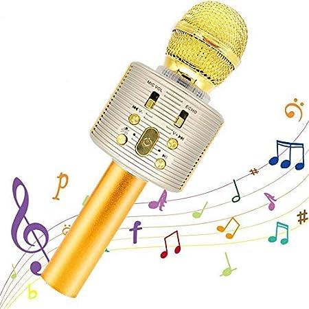 Micrófono Karaoke Bluetooth,Portátil Inalámbrica Micrófono y Altavoz del Karaoke con LED para Niños Canta Partido Musica,El Hogar KTV, Compatible con Android/iOS PC,Tabletas (Dorado)