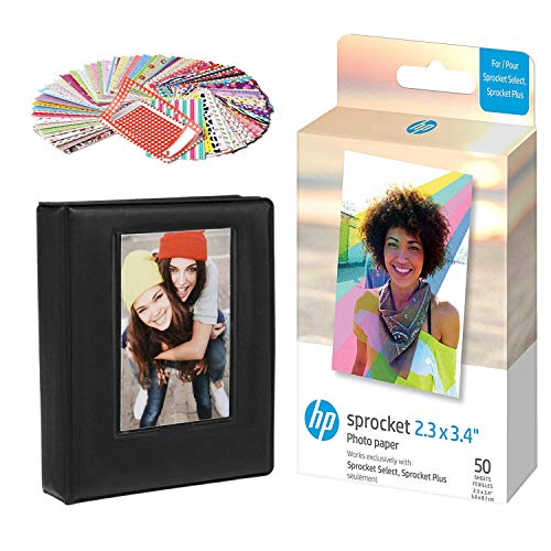 HP Sprocket - Papel fotográfico (50 hojas), color negro