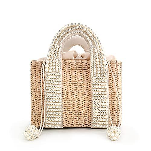 Bolso de playa de perlas para mujer, novedad de verano de 2021, elegante bolso de paja tejido con cuentas, bolso de mano grande de punto para mujer, bolso informal de vacaciones (L,Khaki)