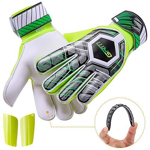 GRM Goalie Gloves Youth, Goalkeeper Gloves with Upgraded Finger Saver Protection and Super Grip Palms, Non-Slip Wear Resistant Soccer Goalie Gloves for Adult, Size 7, Bonus Medium Shin Guards
