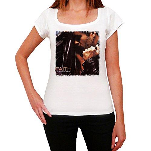 George Michael Faith Melrose Tshirt, Damen T-shirt, Kurze Ärmel, Geschenk tshirt (S, Weiß)