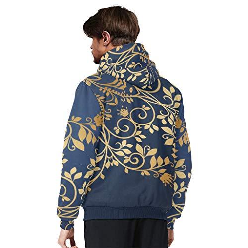 O5KFD&8 Männlich Reißverschluss Vorne Warm Vlies Kapuzenpulli Teen Students Midnighrt Blau Golden Mandala Drucken Personalisieren - Baumwolle Loose Comfort Jacke für Kollege White l